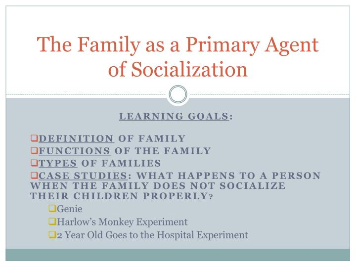 The Family as a Primary Agent of Socialization