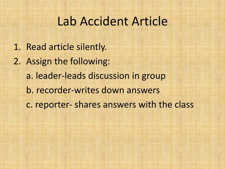 Lab accident article