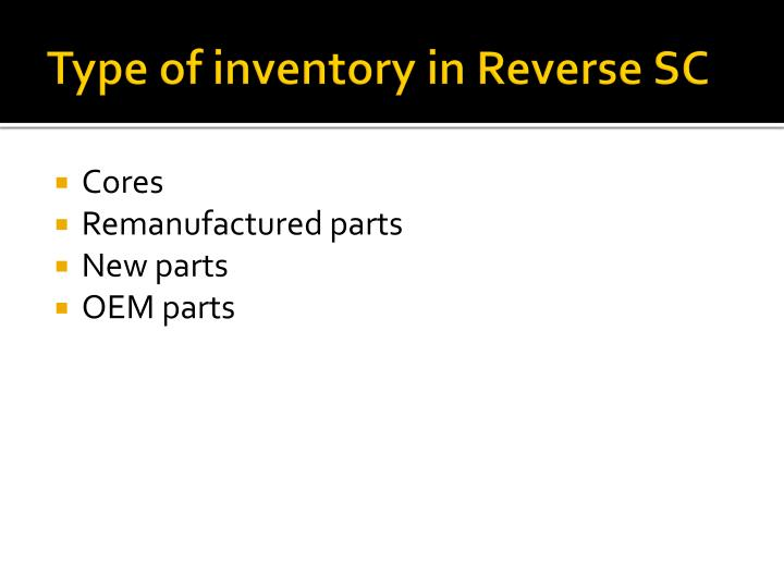 Type of inventory in Reverse SC