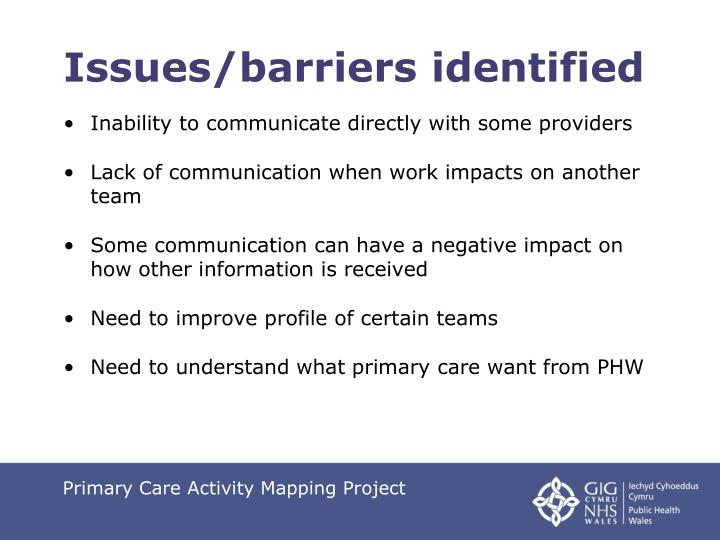 Issues/barriers identified