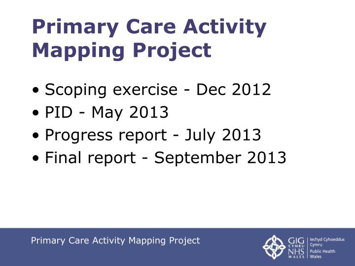 Primary Care Activity Mapping Project