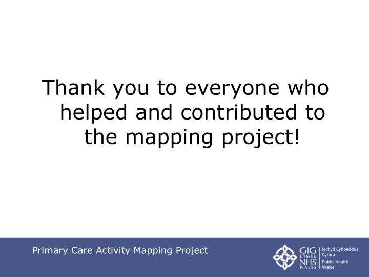 Thank you to everyone who helped and contributed to the mapping project!