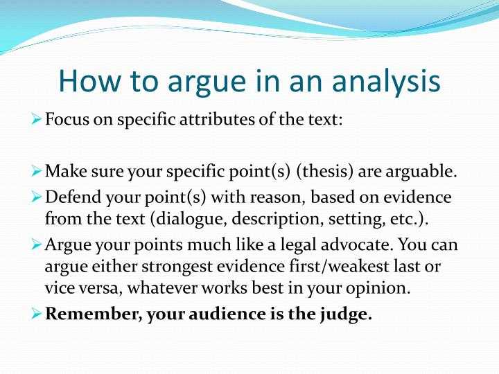 How to argue in an analysis