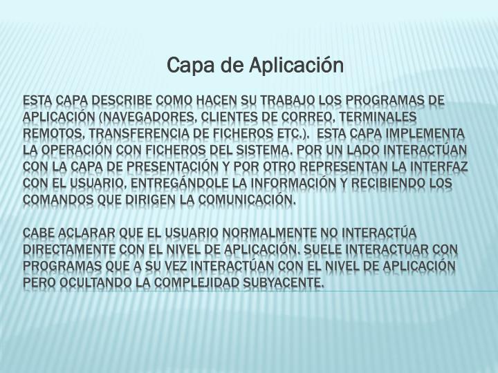 Capa de Aplicación
