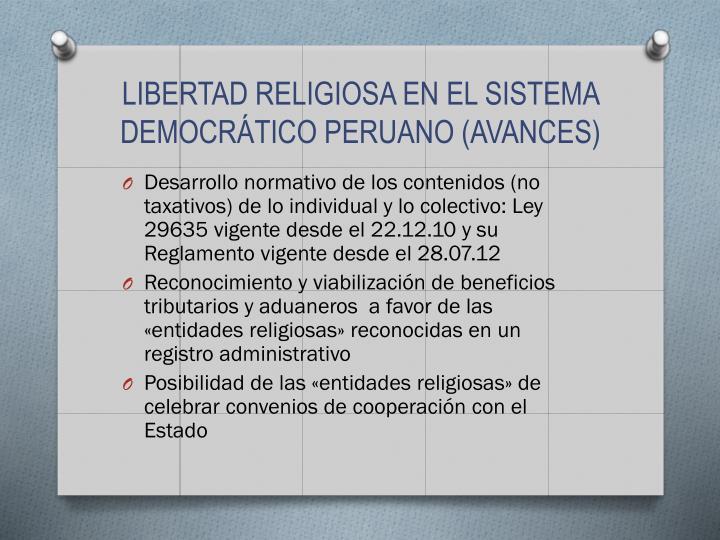 LIBERTAD RELIGIOSA EN EL SISTEMA DEMOCRÁTICO PERUANO (AVANCES)