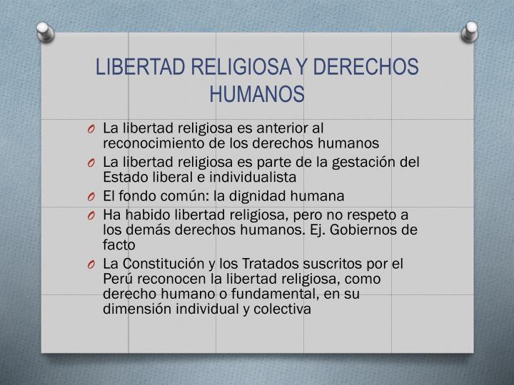 LIBERTAD RELIGIOSA Y DERECHOS HUMANOS