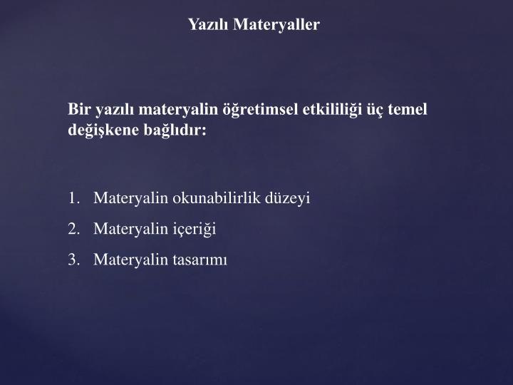 Yazılı Materyaller