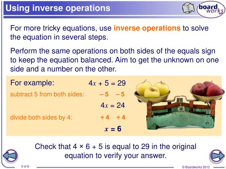 Using inverse operations