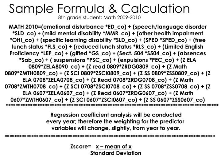 Sample Formula & Calculation