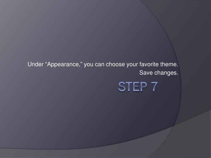"""Under """"Appearance,"""" you can choose your favorite theme."""