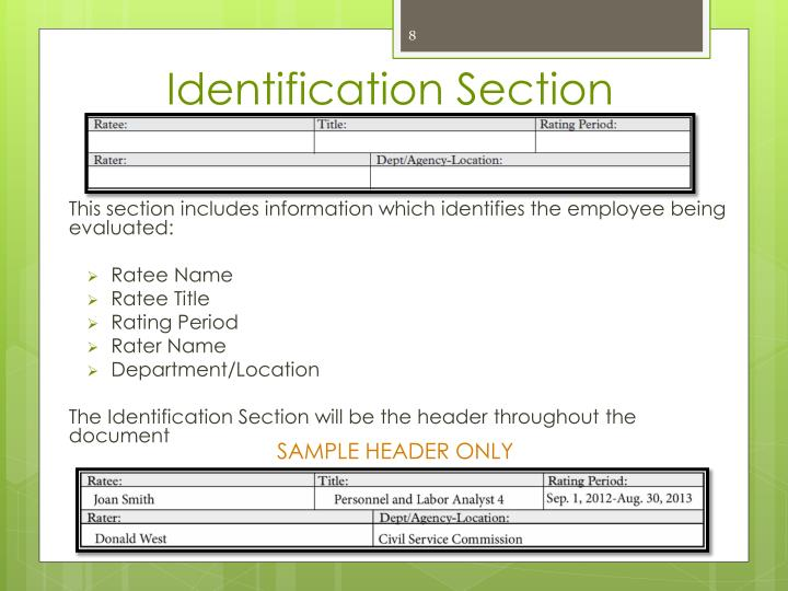 Identification Section