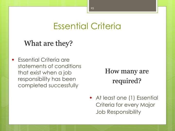 Essential Criteria