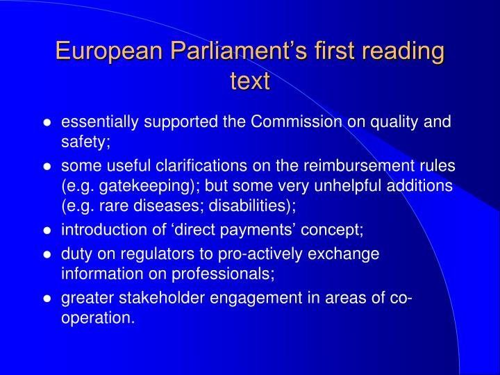 European Parliament's first reading text