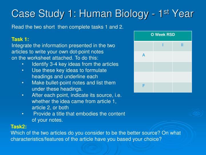 Case Study 1: Human Biology - 1