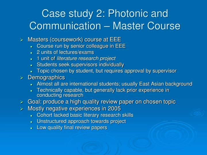 Case study 2: Photonic and Communication – Master Course