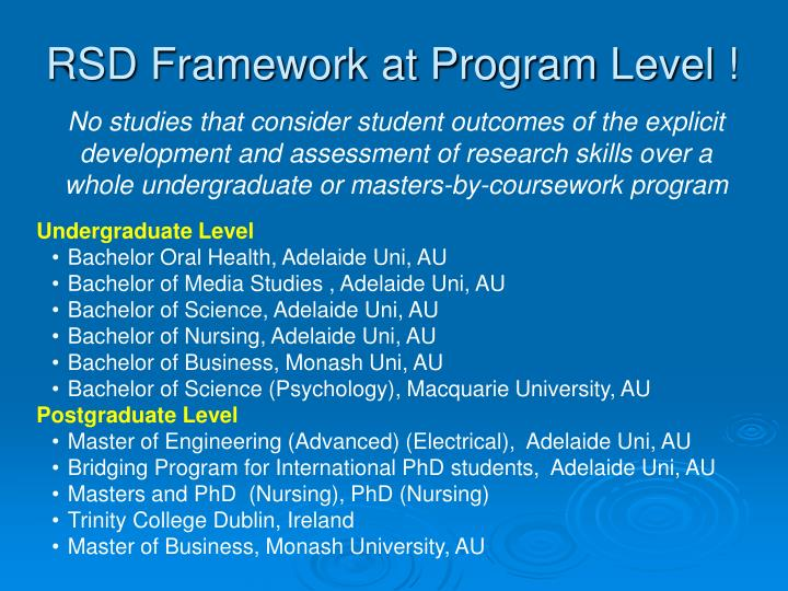 RSD Framework at Program Level !