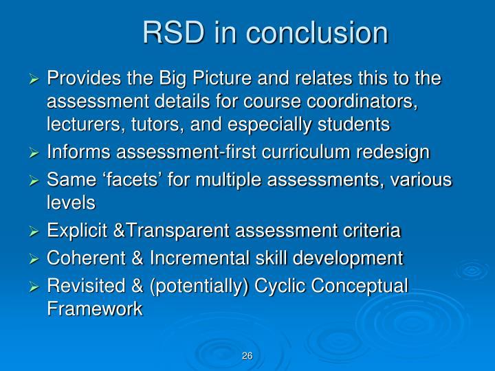 RSD in conclusion