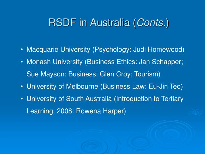 RSDF in Australia (