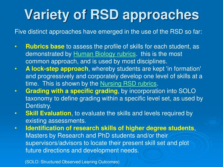 Variety of RSD approaches