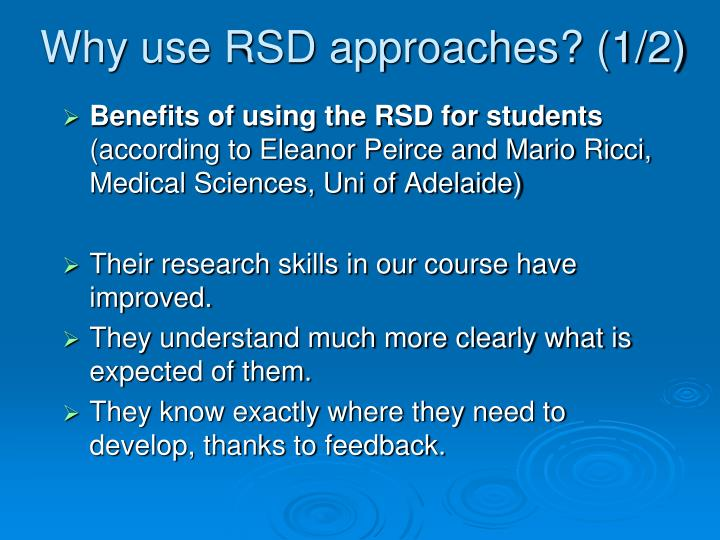 Why use RSD approaches? (1/2)