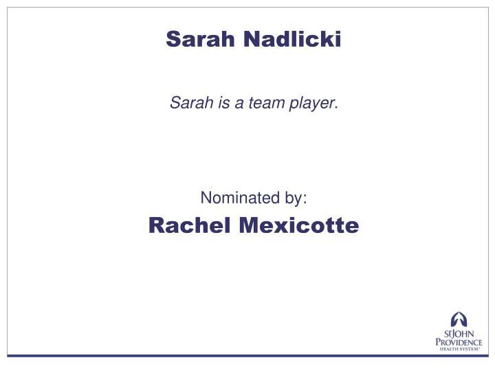 Sarah Nadlicki