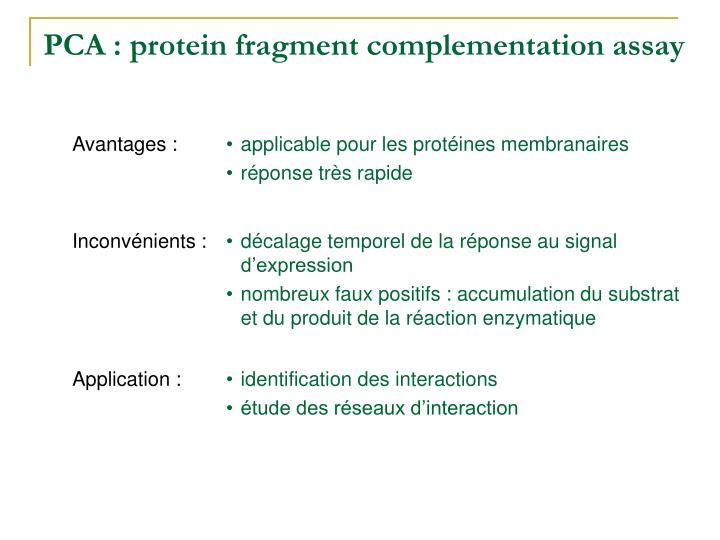 PCA : protein fragment complementation assay