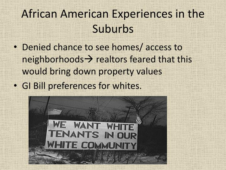 African American Experiences in the Suburbs