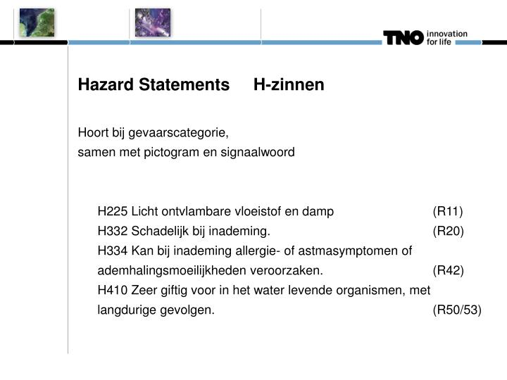 Hazard Statements     H-