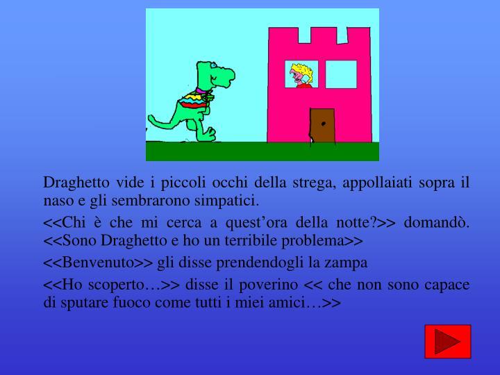 Draghetto vide i piccoli occhi della strega, appollaiati sopra il naso e gli sembrarono simpatici.