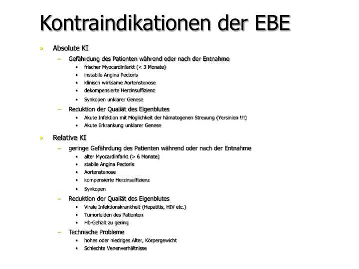 Kontraindikationen der EBE