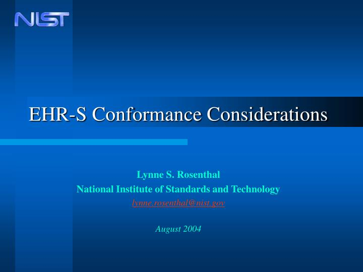 Ehr s conformance considerations