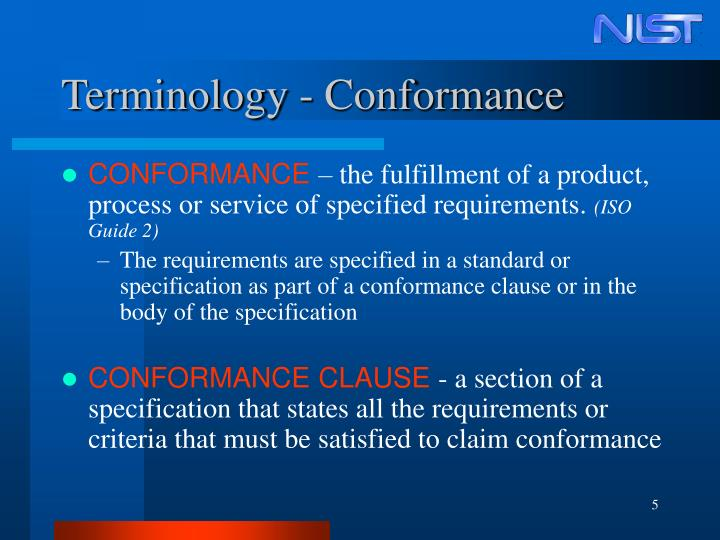 Terminology - Conformance