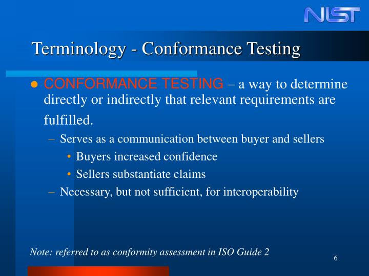 Terminology - Conformance Testing