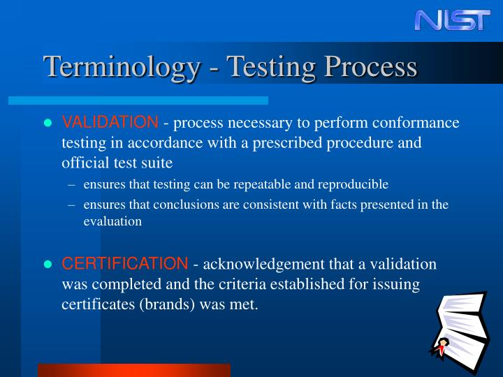 Terminology - Testing Process