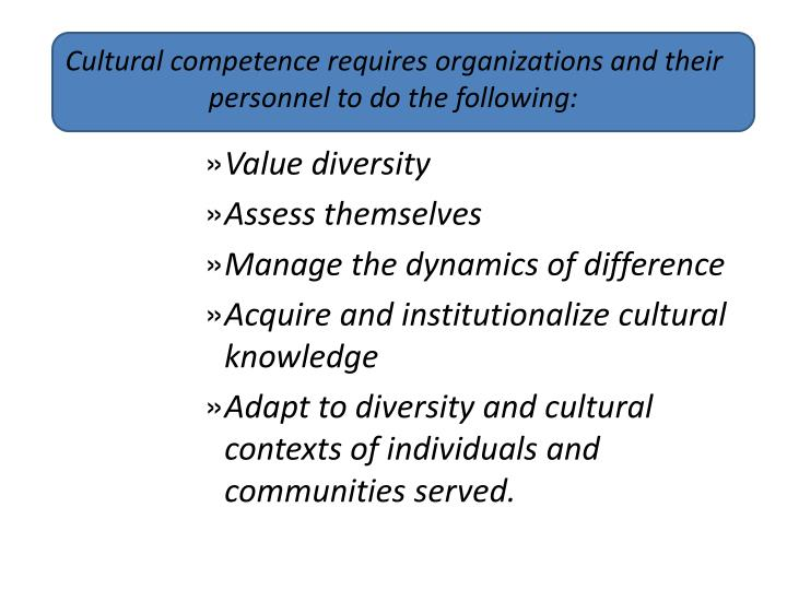 Cultural competence requires organizations and their personnel to do the following: