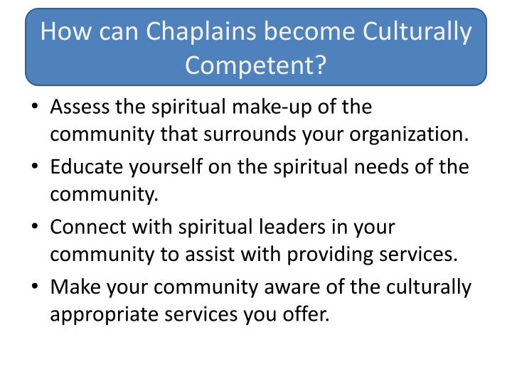 How can Chaplains become Culturally Competent?