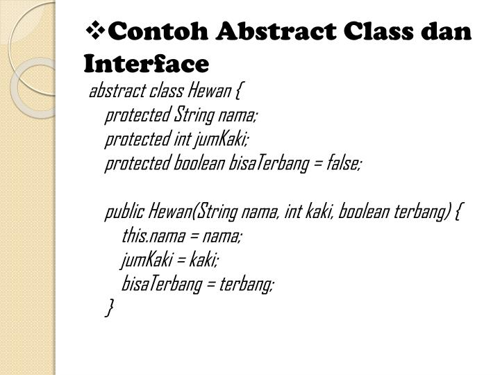 Contoh Abstract Class dan Interface