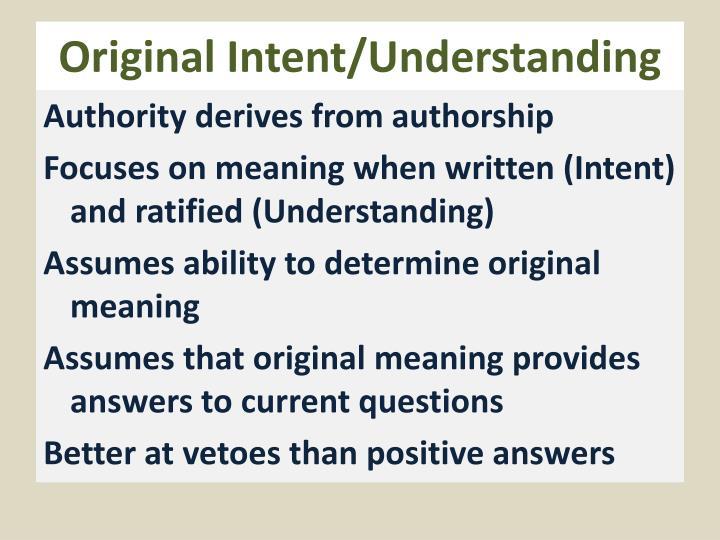 Original Intent/Understanding