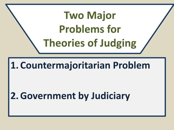 Two Major Problems for Theories of Judging