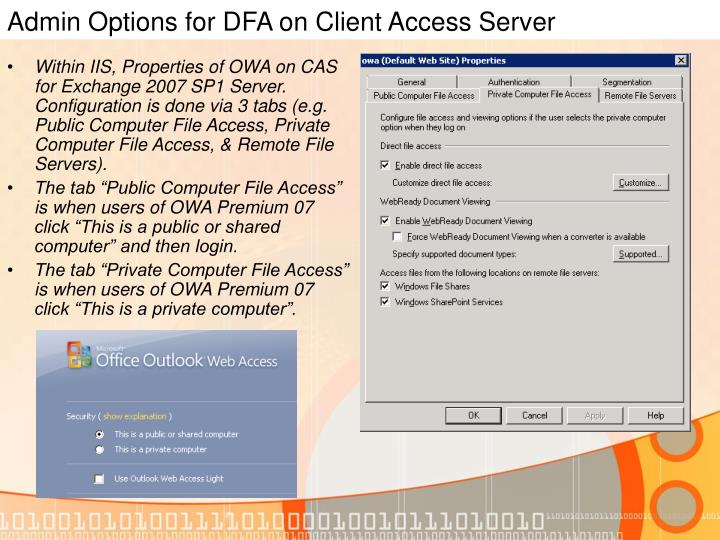 Admin Options for DFA on Client Access Server