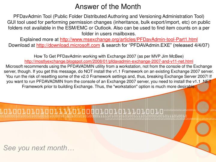 PFDavAdmin Tool (Public Folder Distributed Authoring and Versioning Administration Tool)