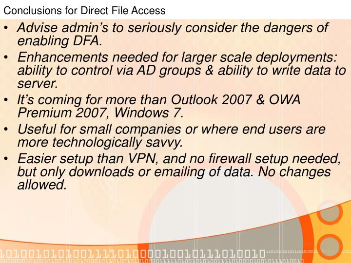 Conclusions for Direct File Access