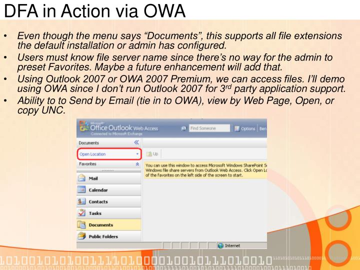 DFA in Action via OWA
