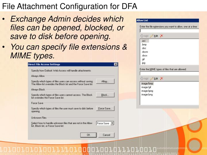 File Attachment Configuration for DFA