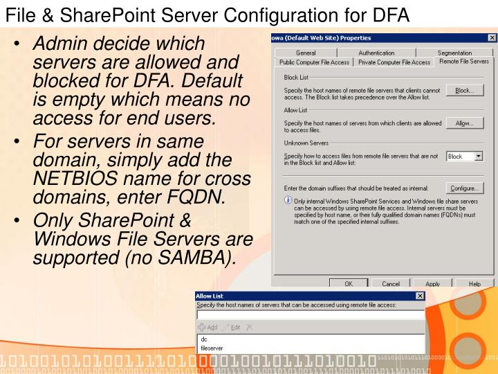 File & SharePoint Server Configuration for DFA