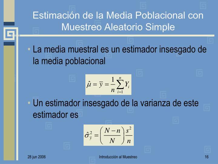 Estimación de la Media Poblacional con Muestreo Aleatorio Simple