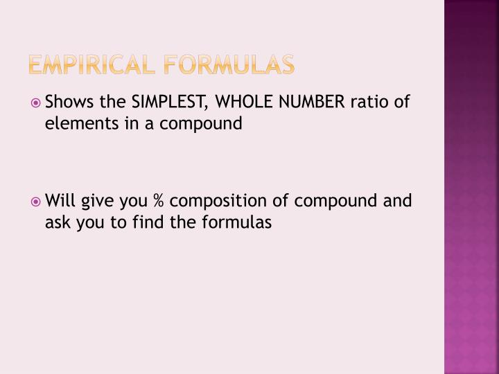 EMPIRICAL FORMULAS