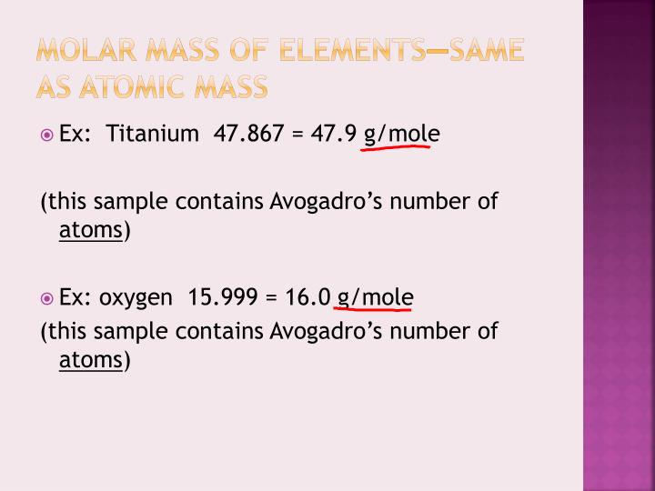 Molar mass of elements—same as atomic mass