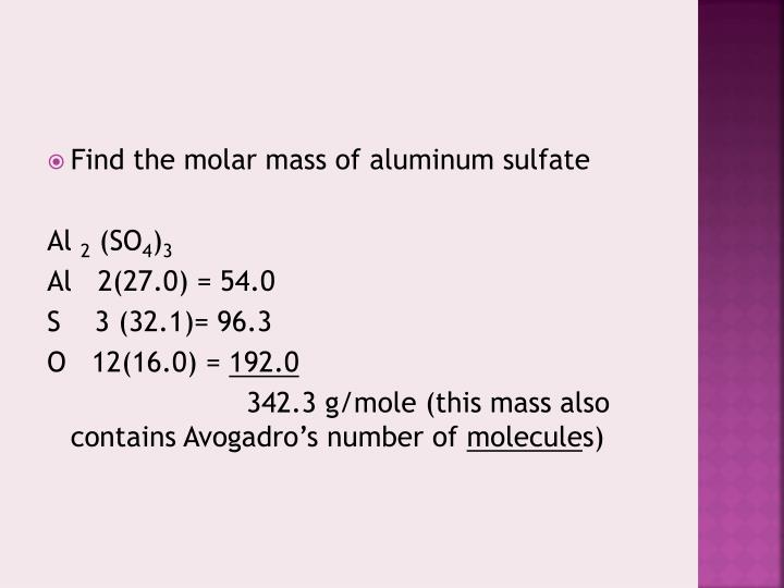 Find the molar mass of aluminum sulfate