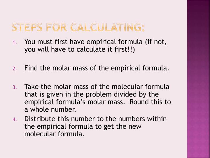 Steps for calculating: